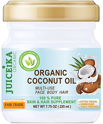 100% PURE ORGANIC COCONUT OIL. EXTRA VIRGIN/UNREFINED COLD PRESSED. 100% Pure Moisture. Skin & Hair Supplement. 7.75 OZ (225 ml) Juiceika Organic