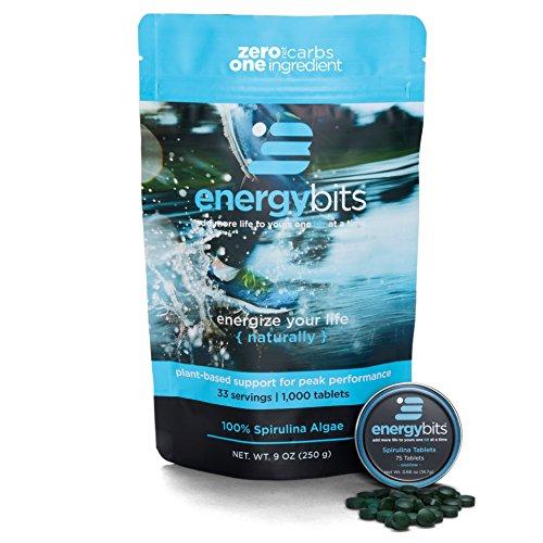 ENERGYbits Pure Spirulina Tablets – Bag of 1,000 Tablets 250mg per Tablet – Non-GMO, Non-Irradiated, Blue Green Algae – Keto, Vegan, Superfood