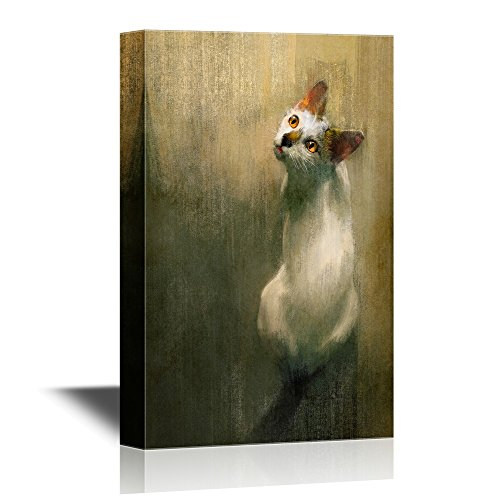 wall26 - Cats Canvas Wall Art - Portrait of a White Cat - Gallery Wrap Modern Home Decor | Ready to Hang - 12x18 inches