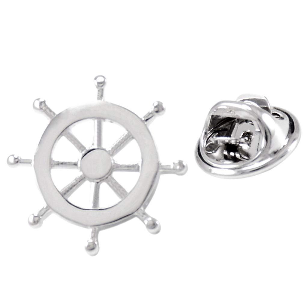 Brass Ship Steering Wheel Shape Navy Mens Uniform Badge Collar Lapel Pin