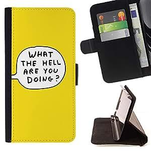 For Samsung Galaxy S6 EDGE (NOT S6) Plus / S6 Edge+ G928 Case , Historieta amarilla Citar Texto burbuja Qué- la tarjeta de Crédito Slots PU Funda de cuero Monedero caso cubierta de piel