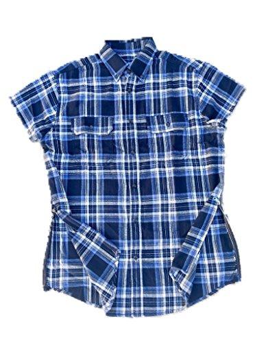 Blue Fear of God Inspired Short Sleeve Flannel w/ Side Zippers