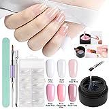 Builder Gel Nail kit, Saviland 6 Colors Poly Gel Finger Extension Set with False Nail Tips Brush Nail Art Manicure Kit (Clear Pink White)