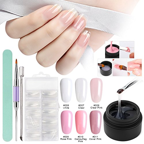 Builder Gel Nail kit, Saviland 6 Colors Poly Gel Finger Extension Set with False Nail Tips Brush Nail Art Manicure Kit (Clear Pink White)