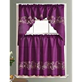 CUTWORK FLORAL Kitchen Curtain Set. CHAIN EMBROIDERY On Linen Look Polester  Fabric With Cutworks (PURPLE)
