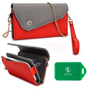 HTC Evo 4G LTE Ladies wristlet wallet with accommodating chain for cross body use PLUS bonus Neviss Luggage Tag