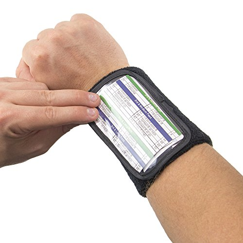 Football Quarterback Triple Insert Playbook Wristband, Multi-Sport Play Holder by Crown Sporting Goods (4.75