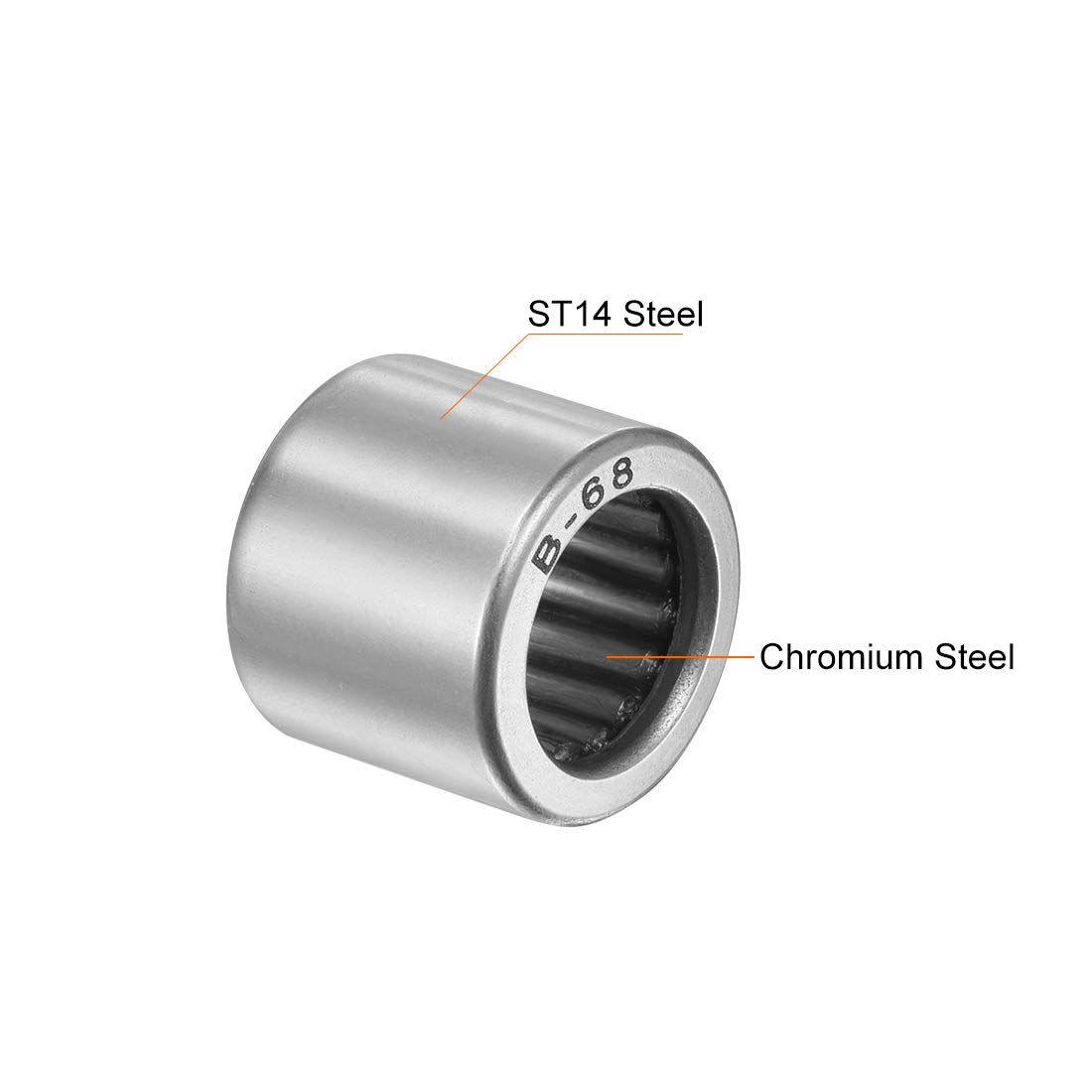 uxcell B68 Needle Roller Bearings Open 3//8-inch I.D Full Complement Drawn Cup 9//16-inch OD 1//2-inch Width 2590N Static Load 1810N Dynamic Load 7100Rpm Limiting Speed