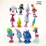Set of 12pcs Trolls dolls, 1.2'' ~ 2.4'' Tall DreamWorks Movie Trolls Action Figures, For Cake toppers, Mini Cake Toppers and Cupcake Decorations