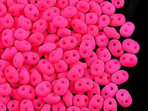 10gr Checa Perlas de Cristal Super Duo Dos agujeros tamaño: 2.5x 5mm, Neon Matte Rosa