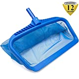 Pool Skimmers 19'' Pool Nets Heavy Duty Pool Rake, Modern Leaf Scoop - Easy Glide Low Drag Skimmer Scoop - Double Stitched Net Bag, Finer Mesh Netting for Smaller Particles Fast Scoop - Blue