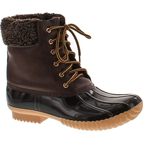 Nature Breeze Ladies Duck-02 Lace Up and Zipper Waterproof Insulated Boot,Brown 10