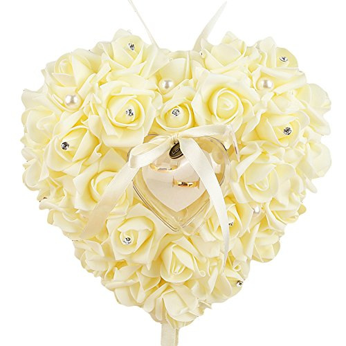 EUNOMIA Faux Pearls Rose Heart Shape Finger Ring Box Container Propose Wedding Accessory (Beige) from EUNOMIA