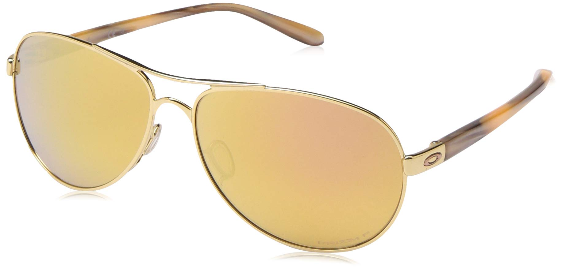 Oakley Women's OO4079 Feedback Aviator Metal Sunglasses, Polished Gold/Prizm Rose Gold Polarized, 59 mm
