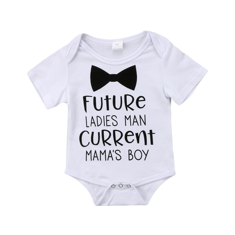 Funny Infant Newborn Baby Boy Short Sleeve Bodysuit Romper Outfit Summer Clothes (White, 0-6 Months)