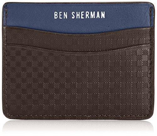 - Ben Sherman Men's Gingham Emboss Card Holder, Chocolate, One Size