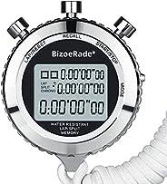 BizoeRade Silent Stopwatch, Metal Digital Sports Stopwatch with Countdown Timer, 100 Lap Memory, Large Display