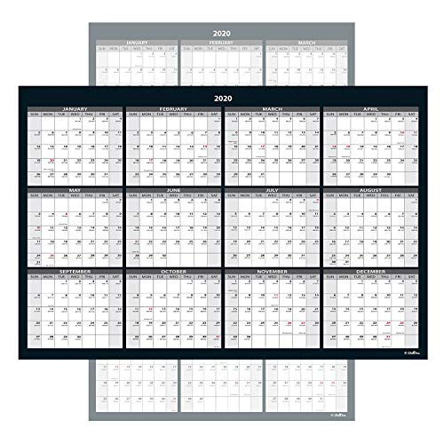 Large Annual Erasable Laminated Wall Calendar (Jan 2020 - Dec 2020), 24 x 36 Inch, 2-Sided Reversible Vertical/Horizontal, Mounting Tape Included