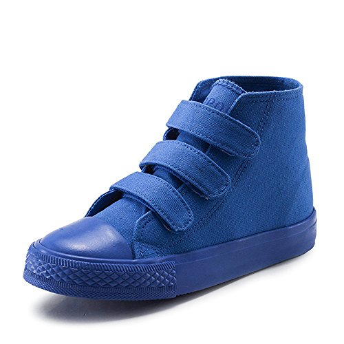 MK MATT KEELY High Top Canvas Shoes Kids Toddler Girls Boys Blue Sneakers Hook Loop School Board Shoes(Toddler Little/Big Kids) US 10 M Little Kid=Insole length 17.5cm Deepblue