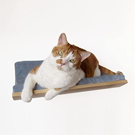 Combo Padded Cat Shelf Perch Sherpa Plush Fabric Double Cat Bowl Feeder Waterer Hand Made Crafted Wood Wall Mounted Cat Bed Feeder Platform