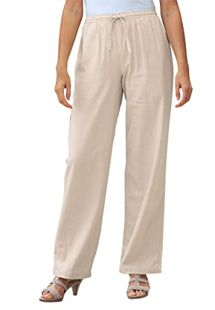 Women's Plus Size Pants In Cool Linen Blend New Khaki, 12 W at ...