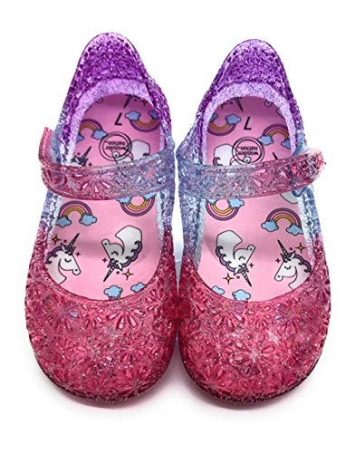 Jelly Sandals Girls Unicorn and Rainbows Waterproof Jellies Velcro Strap Slip On MaryJanes in Pink, Purple and Silver with Glitter (7)