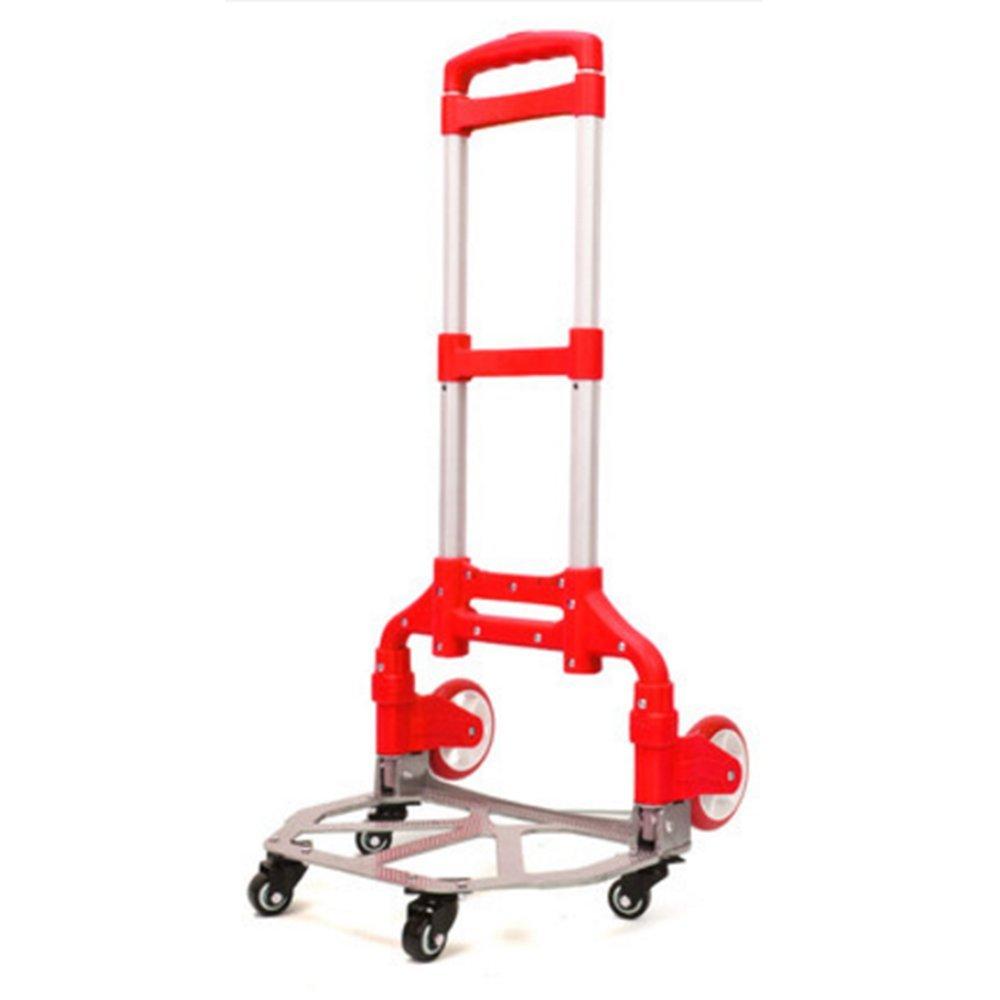 NAN ポータブル折り畳みトロリーカート、ハンドトラックアルミ合金家庭用スーパーマーケットカート-100 * 34 * 42センチメートル トレーラー (色 : 赤) B07DZKFL88  赤