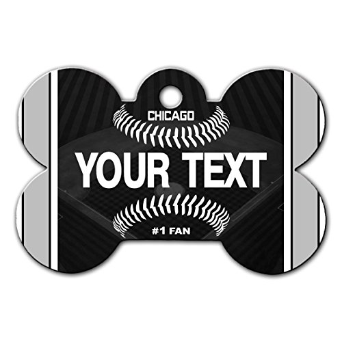 BleuReign(TM) Personalized Custom Name Baseball Chicago Black License Plate Bone Shaped Metal Pet ID Tag with Contact Information