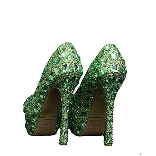 Bridal Eveing Green Women's Fuchsia cm Pageant Wedding 06cm Heel 14 Pumps heel Boshi CwU5R4xqR