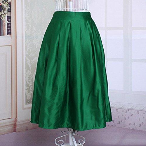 Femme Chic Retro Casual A Midi Doublée Vert Acme Line Elastique Jupe Trapeze Taille Plissée Haute AwSqqdv