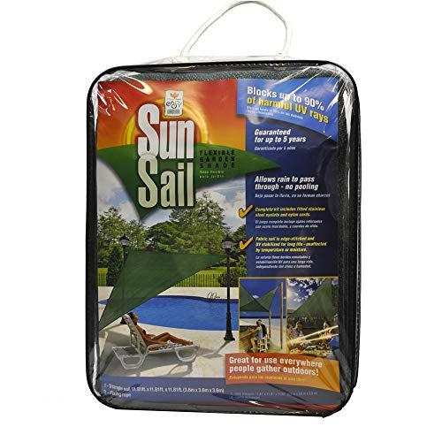 Easy Gardener Sun Sail Triangle Sun Shade (5 Year Sun Shade, Blocks Up to 90% of Harmful UV Rays) 11.8 feet x 11.8 feet x 11.8 feet, Green