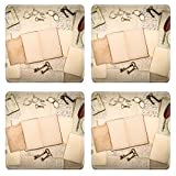 MSD Square Coasters IMAGE 29663573 open book vintage accessories old letters pages photo frames glasses keys clock nostalgic background
