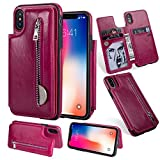 Zipper Wallet Case for iPhone X,Shinyzone iPhone X Case with Money Pocket [One Magnetic Buckle] Premium Vintage Leather PU Flip Back Cover-Rose Red