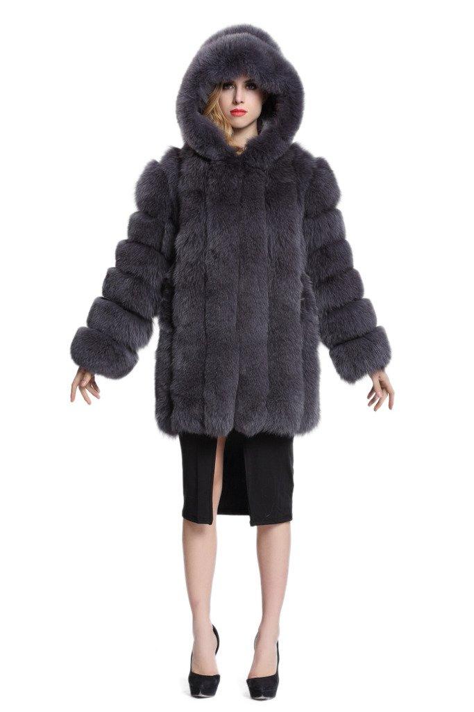 Topfur Women's Coat Fox Fur Overcoat With Dark Gray Hat Winter Outerwear(US 4)