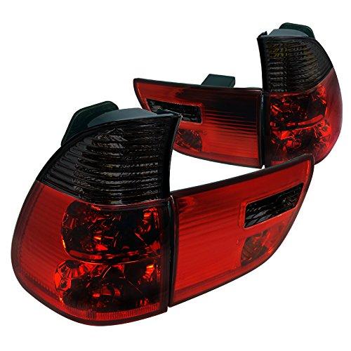 Spec-D Tuning LT-X500RG-APC Bmw X5 E35 4.4I 3.0I 4.6I 4 Door, Red Smoked Lens 4 Pcs Tail Lights (X5 Lens Headlight Bmw)