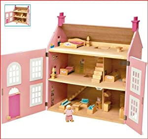Chad Valley Wooden 3 Storey Dolls House Pink By Chad Valley Amazon Co Uk Toys Amp Games