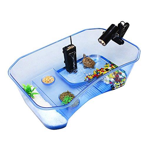 Accreate Practical Reptile Turtle Tortoise Vivarium Box Aquarium Tank with Basking Ramp (blue) (House Tank)
