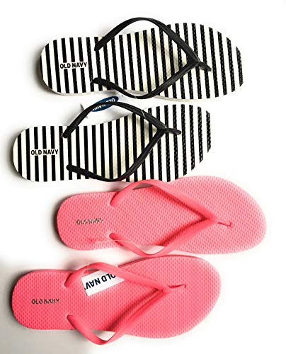 Old Navy Flip Flop Sandals for Woman, Great for Beach or Casual Wear (10, Black Stripe and Pink) -