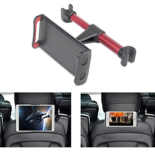 Tablet Car Seat Headrest Mount, Universal Mount Holder For iPad, Samsung Galaxy, Amazon Kindle Fire HD,Nintendo Switch, Fits All 4-10.5 inch Smartphones And Tablets (Balck-Red) by Devotee