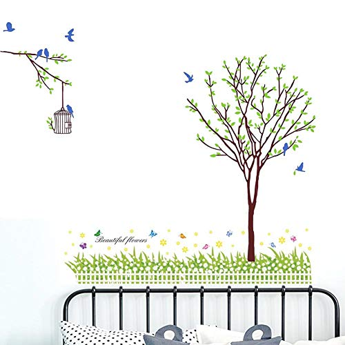 BIBITIME 8 Blue Birds Birdcages Green Tree Wall Sticker/Garden White Fence Flower Green Grassland Borders Stickers Beautiful Butterfly Wall Decal for Living Room Nursery Kids Room Decor