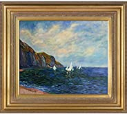 Hand-Painted Reproduction of Claude Monet Cliffs and Sailboats at Pourville Framed Oil Painting, 20 x 24