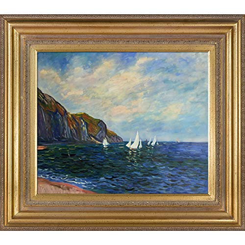 (Hand-Painted Reproduction of Claude Monet Cliffs and Sailboats at Pourville Framed Oil Painting, 20 x 24)
