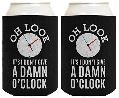 Retirement Gag - Funny Retirement Gifts for Men Oh Look It's I Don't Give a Damn O'Clock Retirement Gifts for Coworker Gag Gifts Retired Coworker 2 Pack Can Coolie Drink Coolers Coolies Black