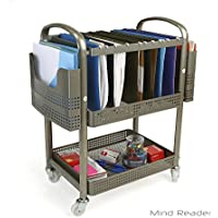 Mind Reader Mobile File Cart Heavy Duty Metal Silver