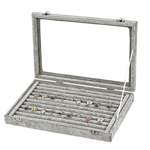 Premium Velvet Jewelry Storage Case Jewelry Tray Organizer Show Case Portable Jewelry Holding Box Earrings Rings Necklace Bracelet Travel Holder Box Container Glass Lid Jewelry Display Accessories