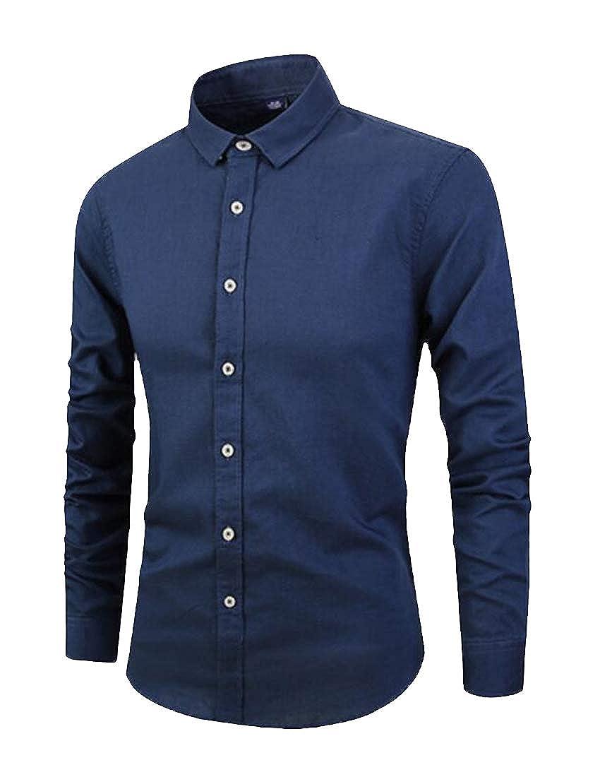 Jofemuho Mens Pure Color Business Regular Fit Linen Long Sleeve Button Down Dress Shirt