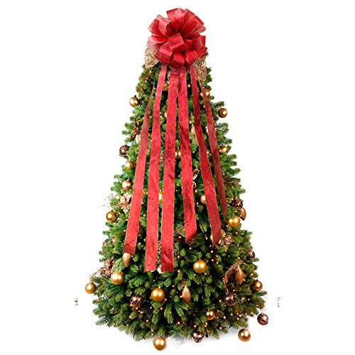 (PartyTalk Red Christmas Tree Bow Topper Large Holiday Tree Topper with Wired Edge for Glitter Christmas Decorations Outdoor Indoor 12