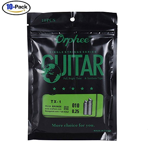 Getaria GE-MGS-TX-1-1ST-E010-02 Single String Replacement for Acoustic Folk Guitar 1st E-String (.010) 10-Pack High-carbon Steel Core 75/25 Phosphor Bronze Extra Light Tension