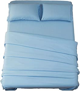 Sonoro Kate Bed Sheet Set Super Soft Microfiber 1800 Thread Count Luxury Egyptian Sheets 18-Inch Deep Pocket Wrinkle and Hypoallergenic-3 Piece(Twin Lake Blue)