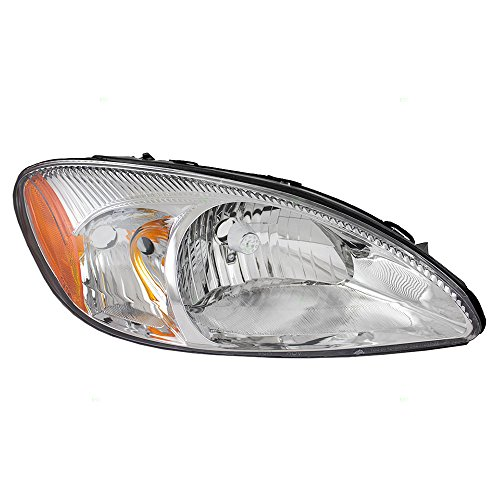 Passengers Headlight Headlamp with Chrome Bezel Replacement for Ford 1F1Z13008AA